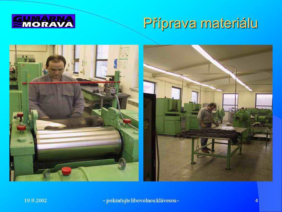 19.9.2002- pokračujte libovolnou klávesou -3 Představení firmy Gumárna Morava s.r.o. byla založena v polovině roku 2001 ve Zlíně. Cílem založení firmy