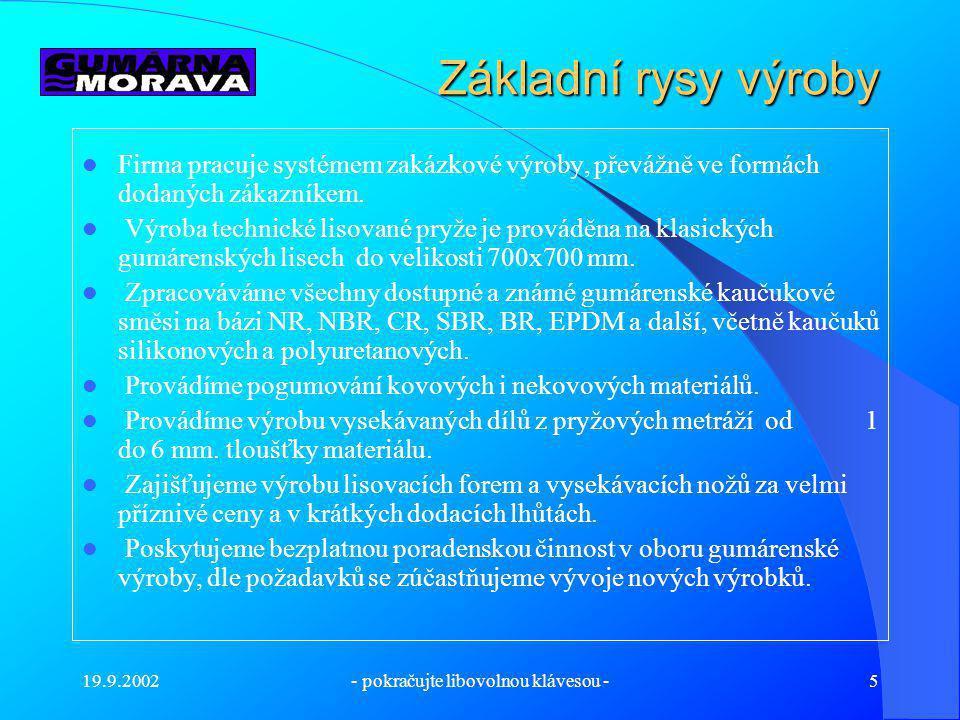 19.9.2002- pokračujte libovolnou klávesou -5 Základní rysy výroby Firma pracuje systémem zakázkové výroby, převážně ve formách dodaných zákazníkem.