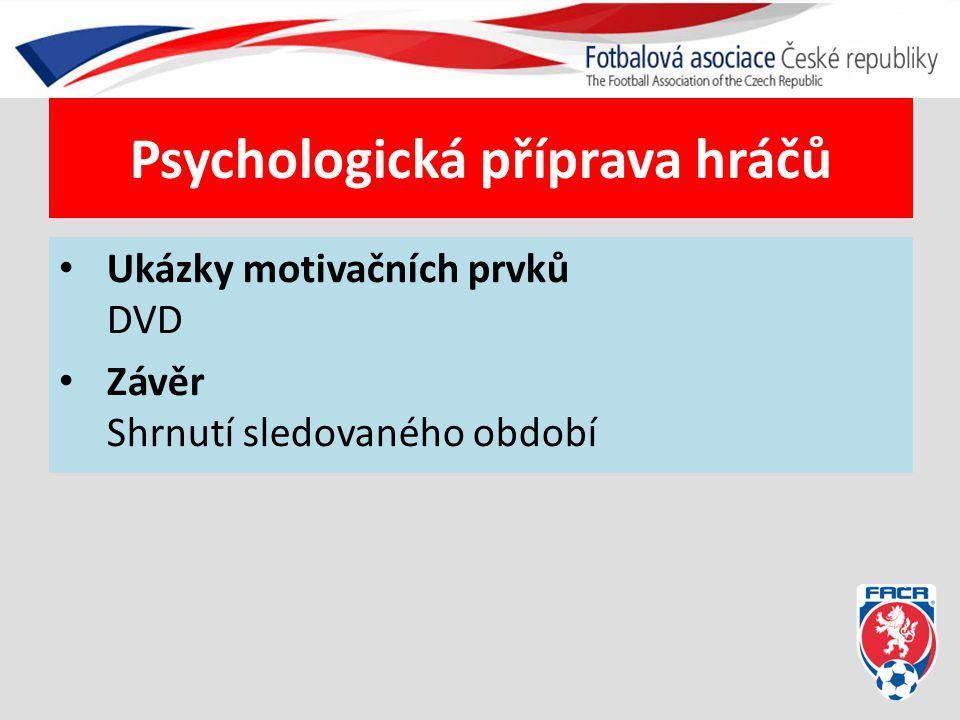 Psychologická příprava hráčů Ukázky motivačních prvků DVD Závěr Shrnutí sledovaného období