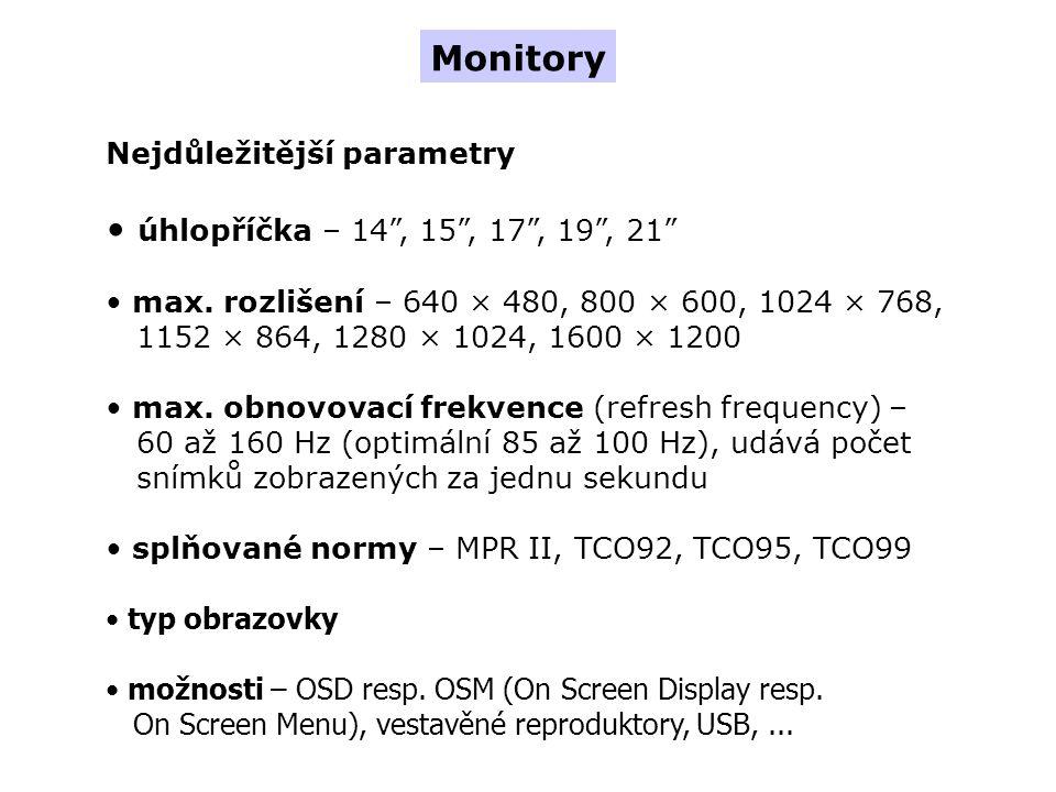 Nejdůležitější parametry úhlopříčka – 14 , 15 , 17 , 19 , 21 max.
