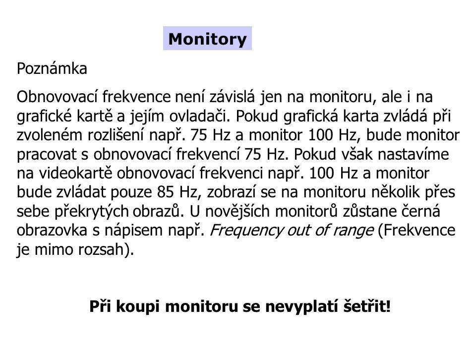 Poznámka Obnovovací frekvence není závislá jen na monitoru, ale i na grafické kartě a jejím ovladači.