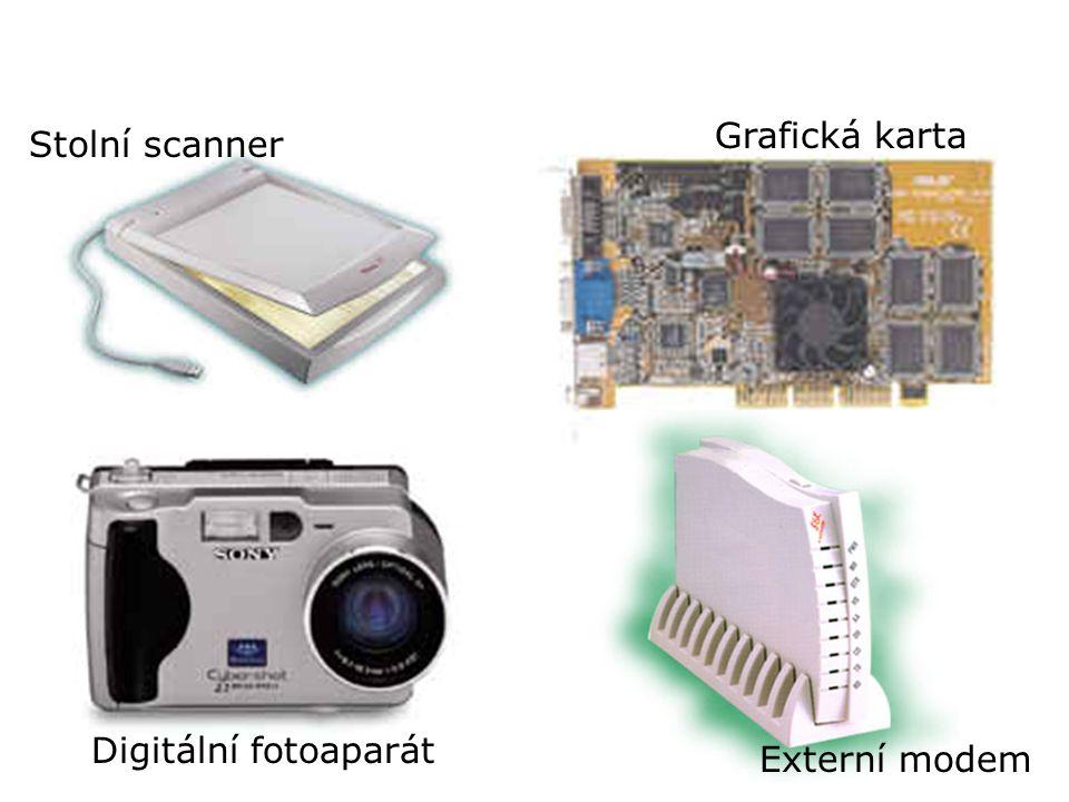 Různá periferní zařízení Stolní scanner Grafická karta Digitální fotoaparát Externí modem