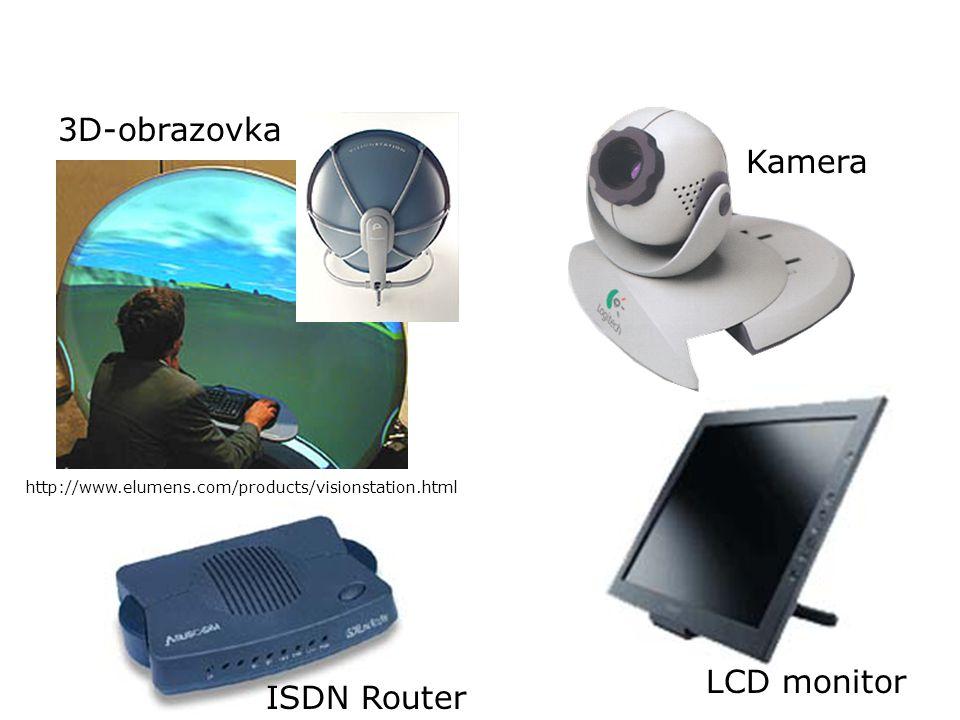 Různá periferní zařízení 3D-obrazovka http://www.elumens.com/products/visionstation.html ISDN Router LCD monitor Kamera
