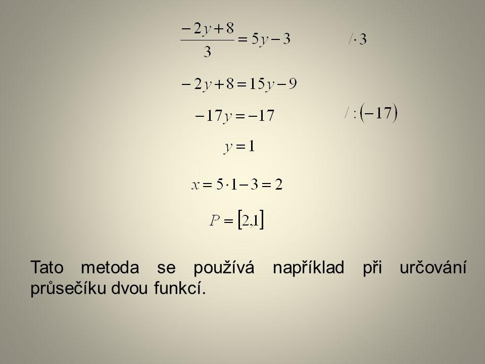 Tato metoda se používá například při určování průsečíku dvou funkcí.