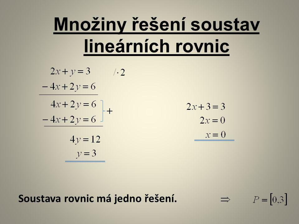 Množiny řešení soustav lineárních rovnic Soustava rovnic má jedno řešení.