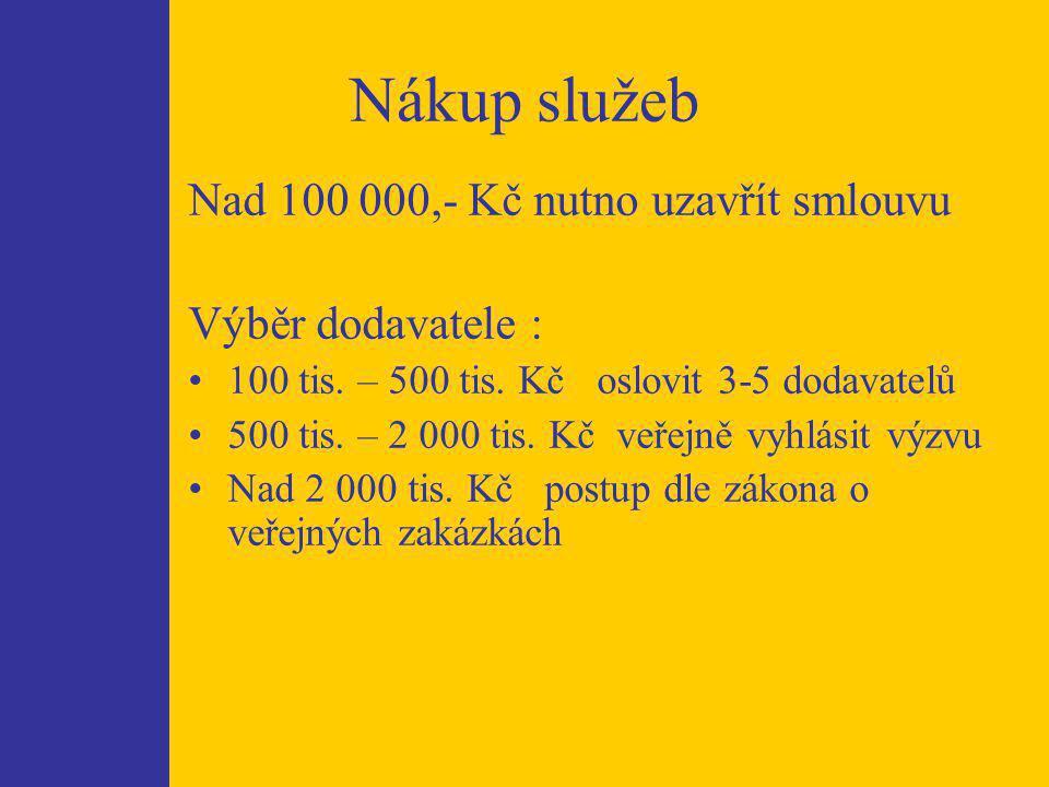 Nákup služeb Nad 100 000,- Kč nutno uzavřít smlouvu Výběr dodavatele : 100 tis.