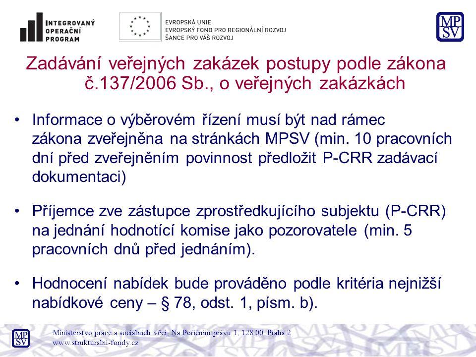 Zadávání veřejných zakázek postupy podle zákona č.137/2006 Sb., o veřejných zakázkách Informace o výběrovém řízení musí být nad rámec zákona zveřejněna na stránkách MPSV (min.