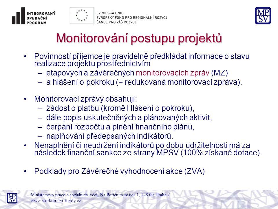 Monitorování postupu projektů Povinností příjemce je pravidelně předkládat informace o stavu realizace projektu prostřednictvím –etapových a závěrečných monitorovacích zpráv (MZ) –a hlášení o pokroku (= redukovaná monitorovací zpráva).
