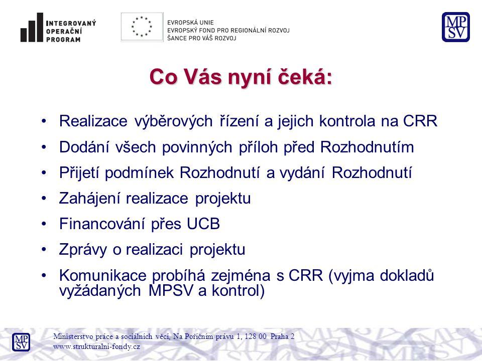 Co Vás nyní čeká: Realizace výběrových řízení a jejich kontrola na CRR Dodání všech povinných příloh před Rozhodnutím Přijetí podmínek Rozhodnutí a vydání Rozhodnutí Zahájení realizace projektu Financování přes UCB Zprávy o realizaci projektu Komunikace probíhá zejména s CRR (vyjma dokladů vyžádaných MPSV a kontrol) Ministerstvo práce a sociálních věcí, Na Poříčním právu 1, 128 00 Praha 2 www.strukturalni-fondy.cz