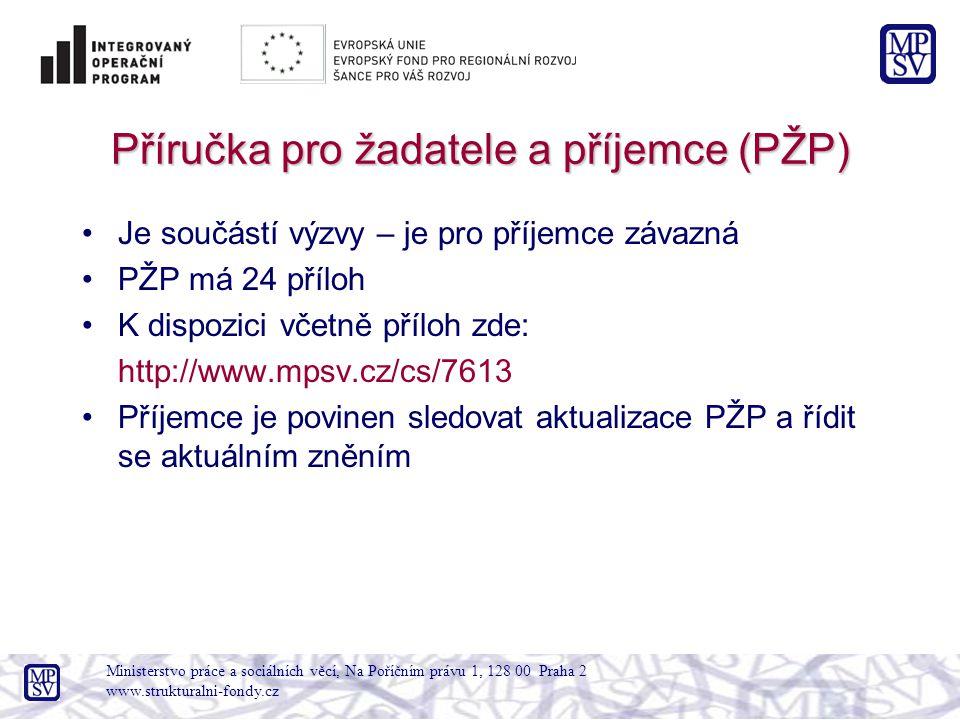 Příručka pro žadatele a příjemce (PŽP) Je součástí výzvy – je pro příjemce závazná PŽP má 24 příloh K dispozici včetně příloh zde: http://www.mpsv.cz/cs/7613 Příjemce je povinen sledovat aktualizace PŽP a řídit se aktuálním zněním Ministerstvo práce a sociálních věcí, Na Poříčním právu 1, 128 00 Praha 2 www.strukturalni-fondy.cz