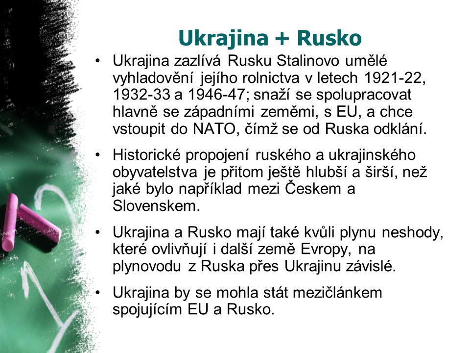 Ukrajina + Rusko Ukrajina zazlívá Rusku Stalinovo umělé vyhladovění jejího rolnictva v letech 1921-22, 1932-33 a 1946-47; snaží se spolupracovat hlavně se západními zeměmi, s EU, a chce vstoupit do NATO, čímž se od Ruska odklání.