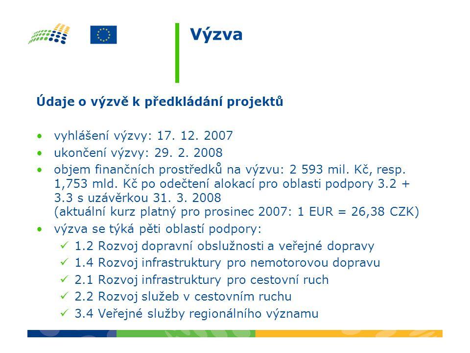 Výzva Údaje o výzvě k předkládání projektů vyhlášení výzvy: 17. 12. 2007 ukončení výzvy: 29. 2. 2008 objem finančních prostředků na výzvu: 2 593 mil.