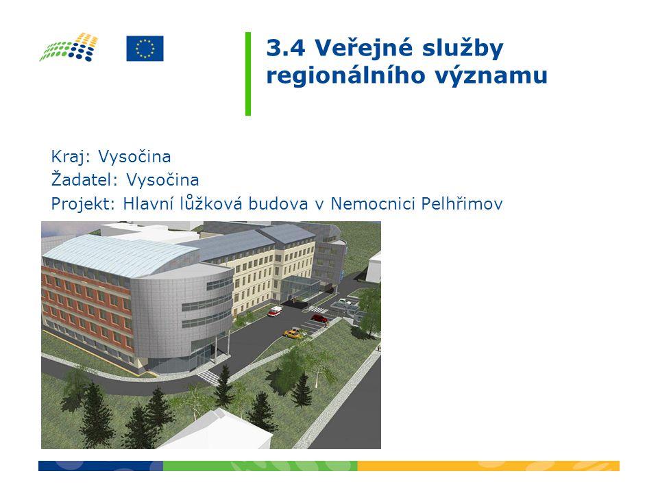 3.4 Veřejné služby regionálního významu Kraj: Vysočina Žadatel: Vysočina Projekt: Hlavní lůžková budova v Nemocnici Pelhřimov