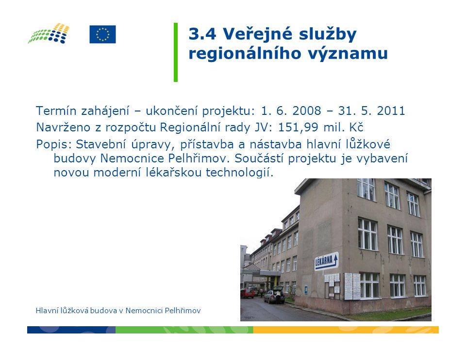3.4 Veřejné služby regionálního významu Termín zahájení – ukončení projektu: 1. 6. 2008 – 31. 5. 2011 Navrženo z rozpočtu Regionální rady JV: 151,99 m