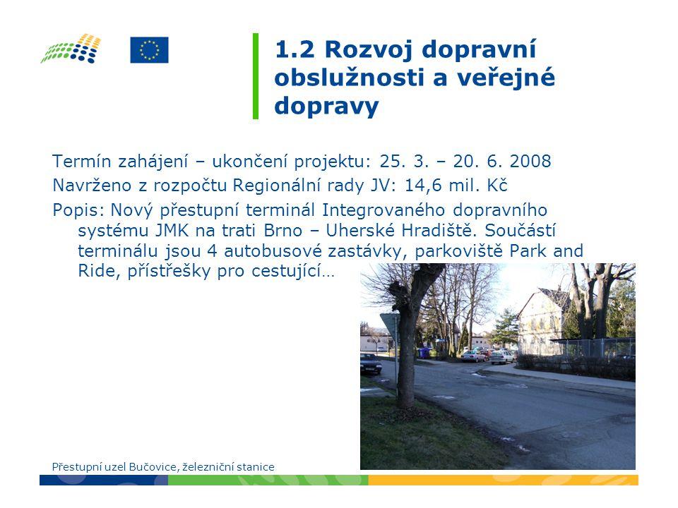 1.2 Rozvoj dopravní obslužnosti a veřejné dopravy Termín zahájení – ukončení projektu: 25.