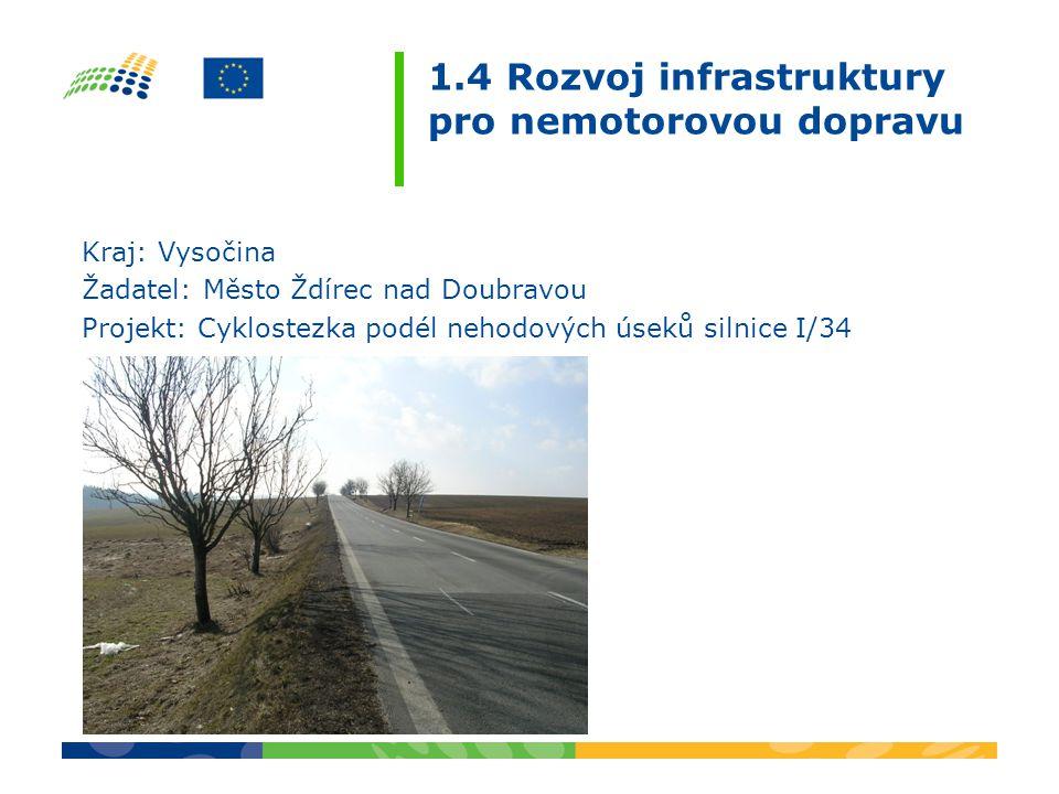 1.4 Rozvoj infrastruktury pro nemotorovou dopravu Kraj: Vysočina Žadatel: Město Ždírec nad Doubravou Projekt: Cyklostezka podél nehodových úseků silni