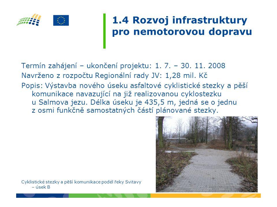 1.4 Rozvoj infrastruktury pro nemotorovou dopravu Termín zahájení – ukončení projektu: 1. 7. – 30. 11. 2008 Navrženo z rozpočtu Regionální rady JV: 1,