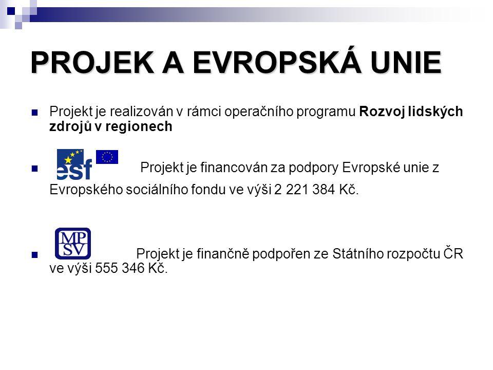 PROJEK A EVROPSKÁ UNIE Projekt je realizován v rámci operačního programu Rozvoj lidských zdrojů v regionech Projekt je financován za podpory Evropské unie z Evropského sociálního fondu ve výši 2 221 384 Kč.