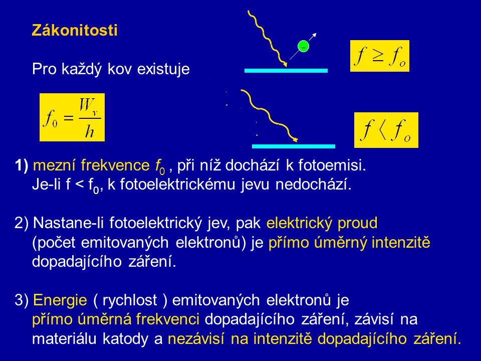 Zákonitosti fotoelektrického jevu vysvětlil v roce 1905 A. Einstein Při fotoelektrickém jevu každé kvantum záření předá svou energii pouze jednomu ele