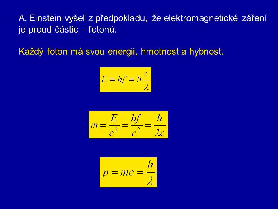 Zákonitosti Pro každý kov existuje 1) mezní frekvence f 0, při níž dochází k fotoemisi. Je-li f < f 0, k fotoelektrickému jevu nedochází. 2) Nastane-l