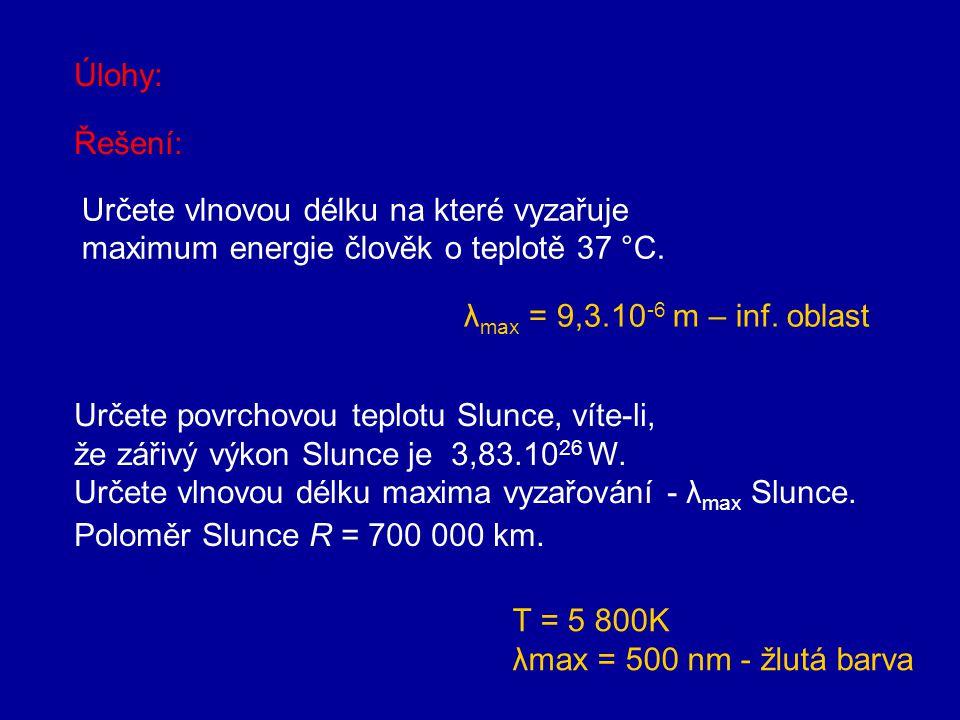 Stefanův-Boltzmannův zákon Energie vyzařovaná absolutně černým tělesem roste úměrně čtvrté mocnině termodynamické teploty. Roste-li teplota tělesa, in