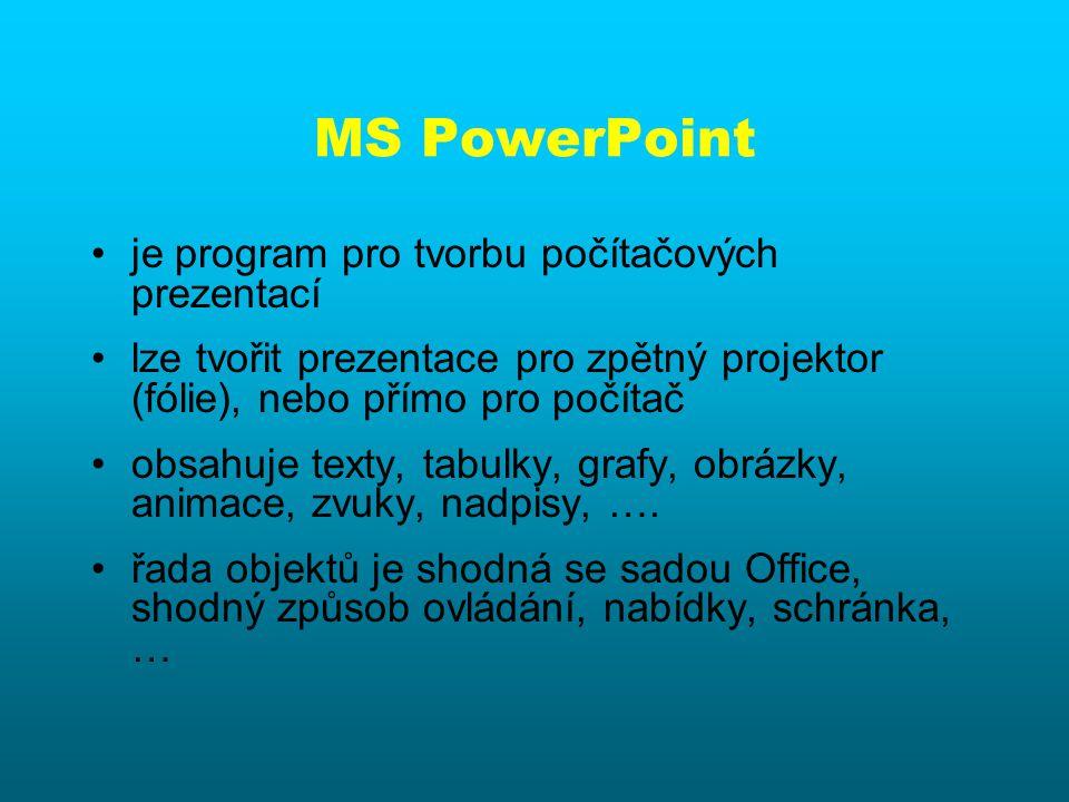 Počítačová prezentace. by MS Power Point