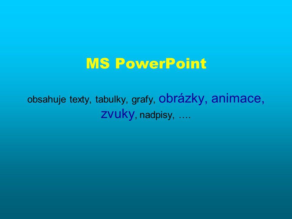 MS PowerPoint je program pro tvorbu počítačových prezentací lze tvořit prezentace pro zpětný projektor (fólie), nebo přímo pro počítač obsahuje texty, tabulky, grafy, obrázky, animace, zvuky, nadpisy, ….