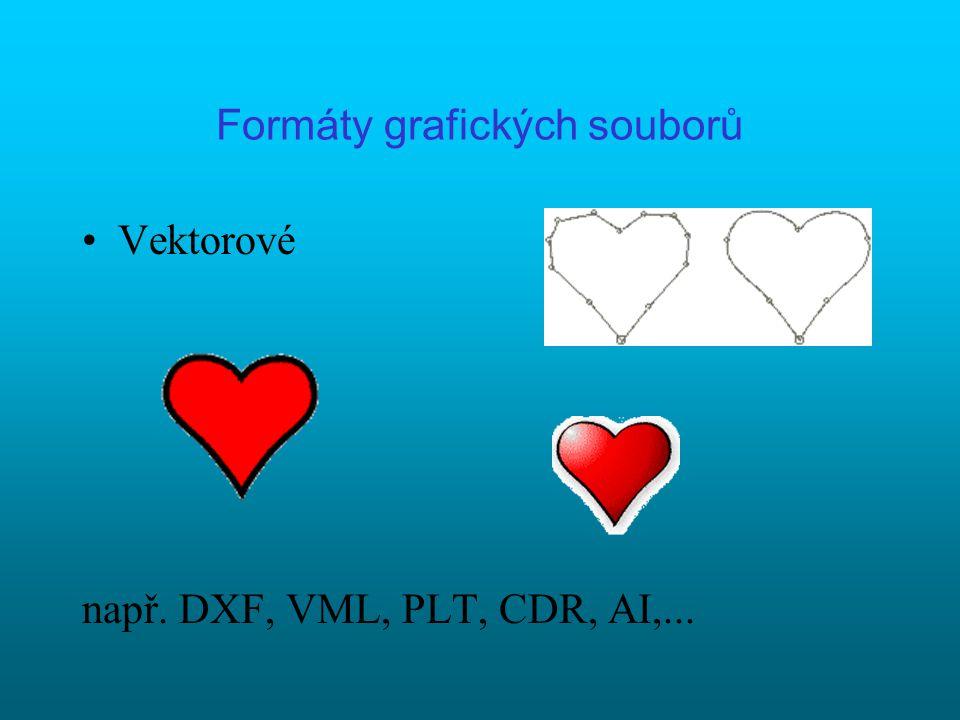 Formáty grafických souborů Rastové (bitmapové) např. BMP, GIF, PNG, JPG, JPEG, PCX, TIFF GIF,