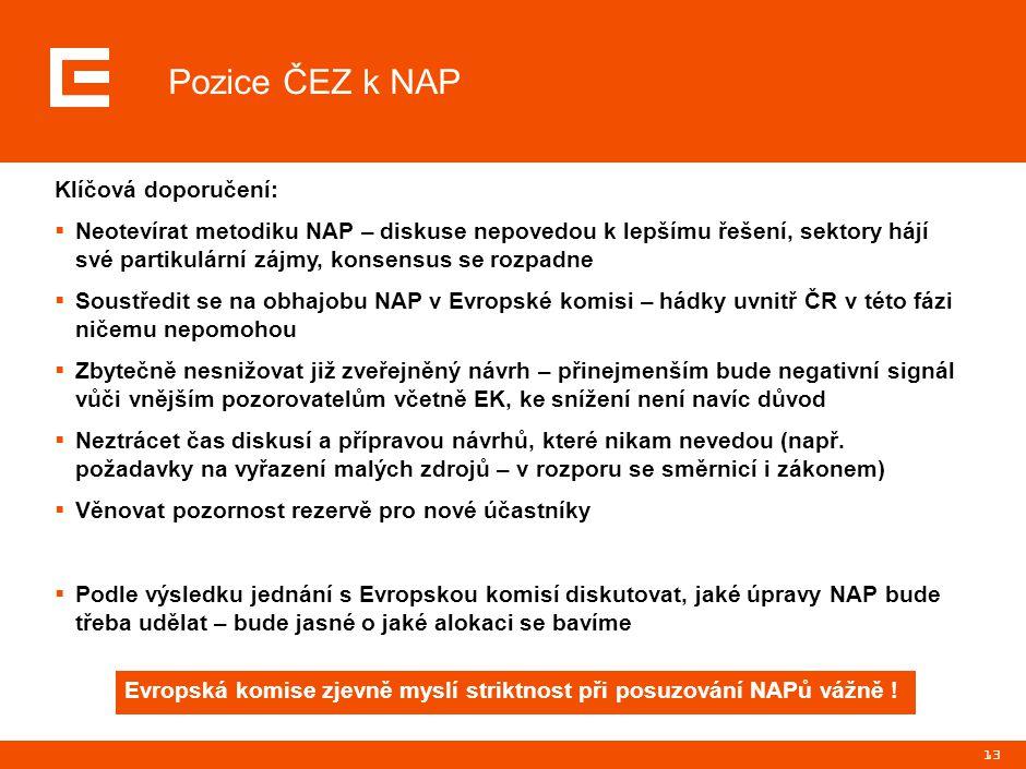 13 Pozice ČEZ k NAP Klíčová doporučení:  Neotevírat metodiku NAP – diskuse nepovedou k lepšímu řešení, sektory hájí své partikulární zájmy, konsensus