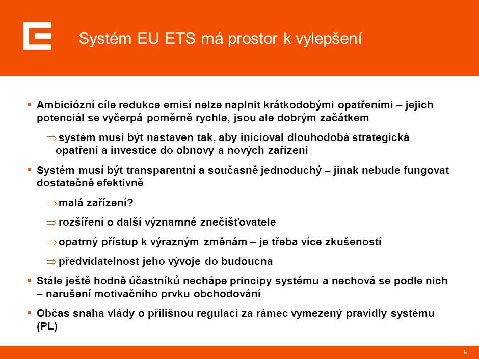 17 Další vývoj EU ETS  ČEZ se aktivně zapojuje do diskusí o budoucím fungování EU ETS  Evropská komise připravuje návrh revize – ovlivní systém po roce 2012  Rozšíření systému (letecká doprava, další sektory)  Zúžení systému (malá zařízení)  Délka alokačního období – specifické téma samo o sobě  Způsob alokace / stanovení redukčních cílů po roce 2012  Míra harmonizace