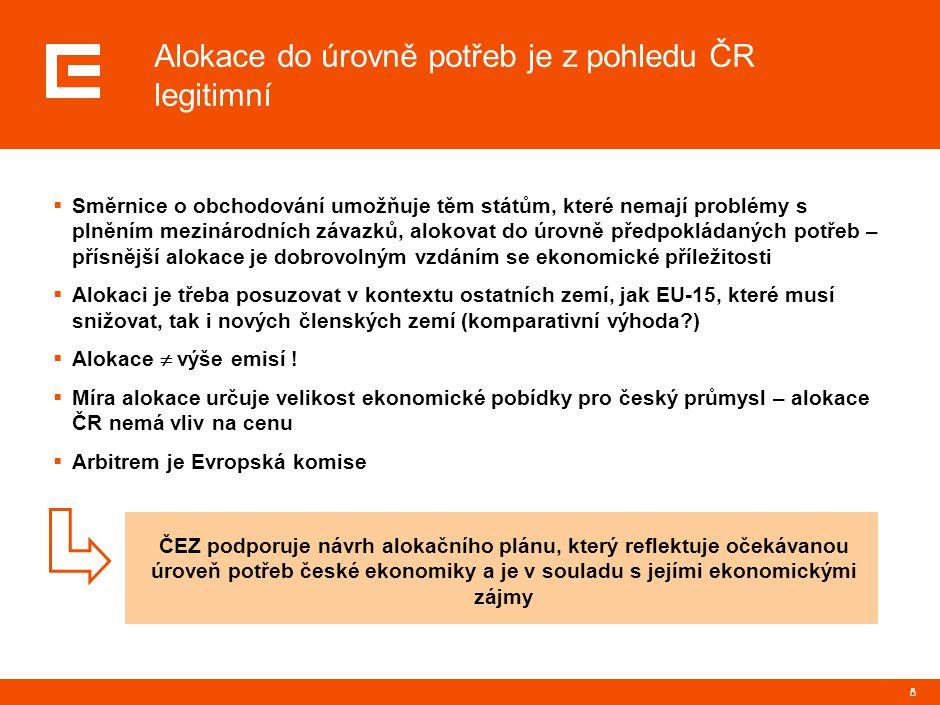 8 Alokace do úrovně potřeb je z pohledu ČR legitimní  Směrnice o obchodování umožňuje těm státům, které nemají problémy s plněním mezinárodních závaz