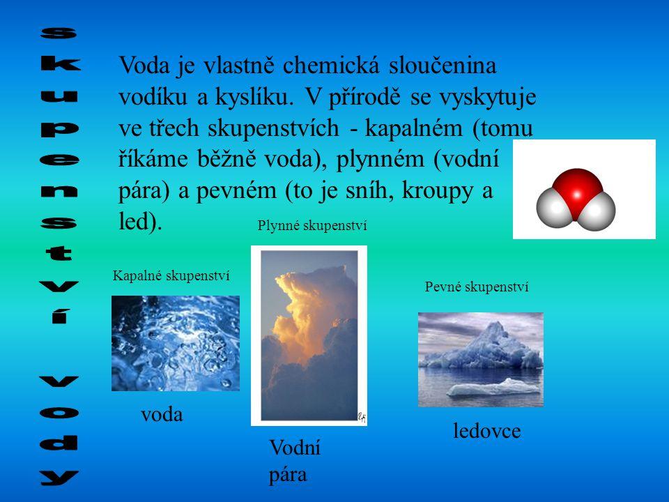 Voda je vlastně chemická sloučenina vodíku a kyslíku. V přírodě se vyskytuje ve třech skupenstvích - kapalném (tomu říkáme běžně voda), plynném (vodní