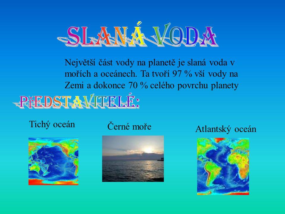 Největší část vody na planetě je slaná voda v mořích a oceánech. Ta tvoří 97 % vší vody na Zemi a dokonce 70 % celého povrchu planety Tichý oceán Čern