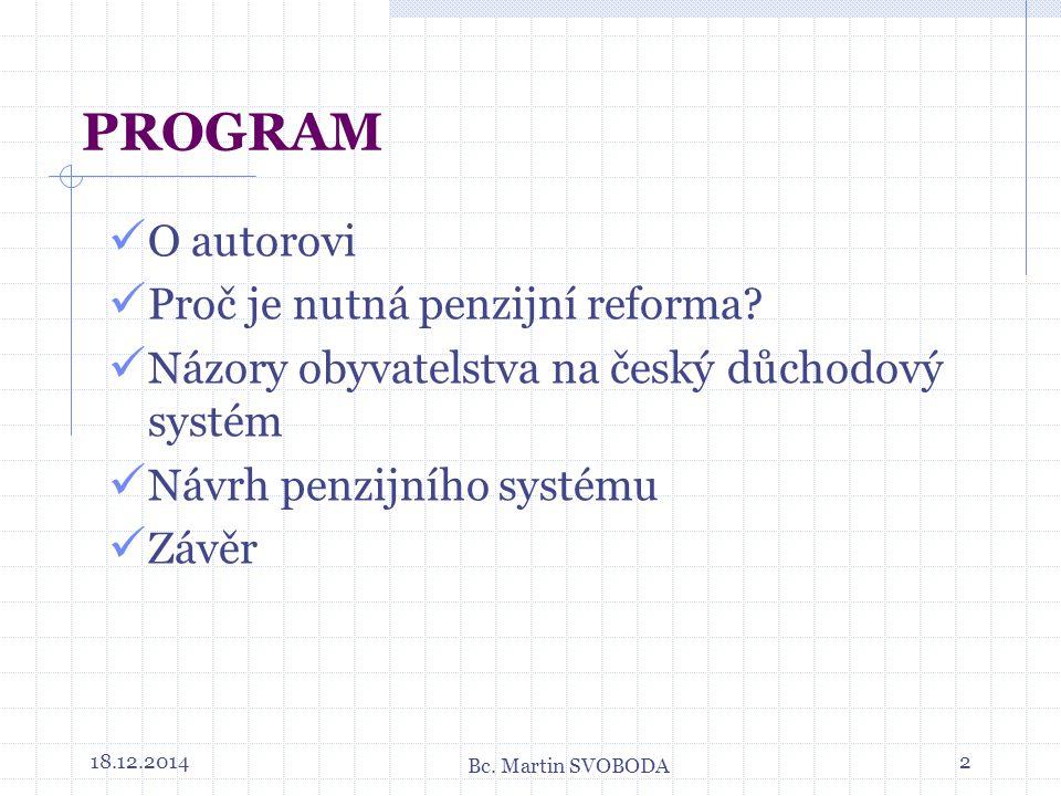 18.12.20142 PROGRAM O autorovi Proč je nutná penzijní reforma.