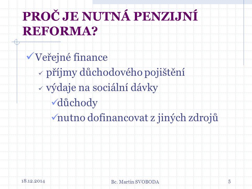 Veřejné finance příjmy důchodového pojištění výdaje na sociální dávky důchody nutno dofinancovat z jiných zdrojů 18.12.20145 PROČ JE NUTNÁ PENZIJNÍ REFORMA.