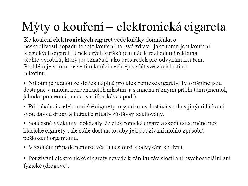 Mýty o kouření – elektronická cigareta Ke kouření elektronických cigaret vede kuřáky domněnka o neškodlivosti dopadu tohoto kouření na své zdraví, jako tomu je u kouření klasických cigaret.