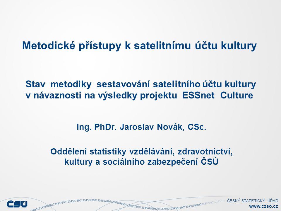 ČESKÝ STATISTICKÝ ÚŘAD www.czso.cz Metodické přístupy k satelitnímu účtu kultury Stav metodiky sestavování satelitního účtu kultury v návaznosti na výsledky projektu ESSnet Culture Ing.