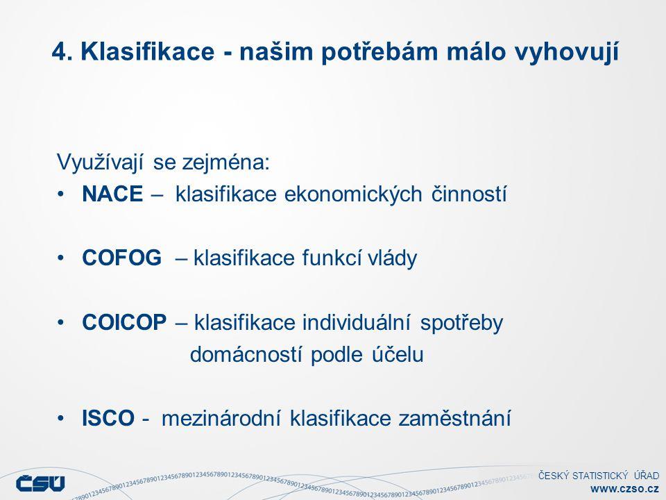 ČESKÝ STATISTICKÝ ÚŘAD www.czso.cz 4. Klasifikace - našim potřebám málo vyhovují Využívají se zejména: NACE – klasifikace ekonomických činností COFOG