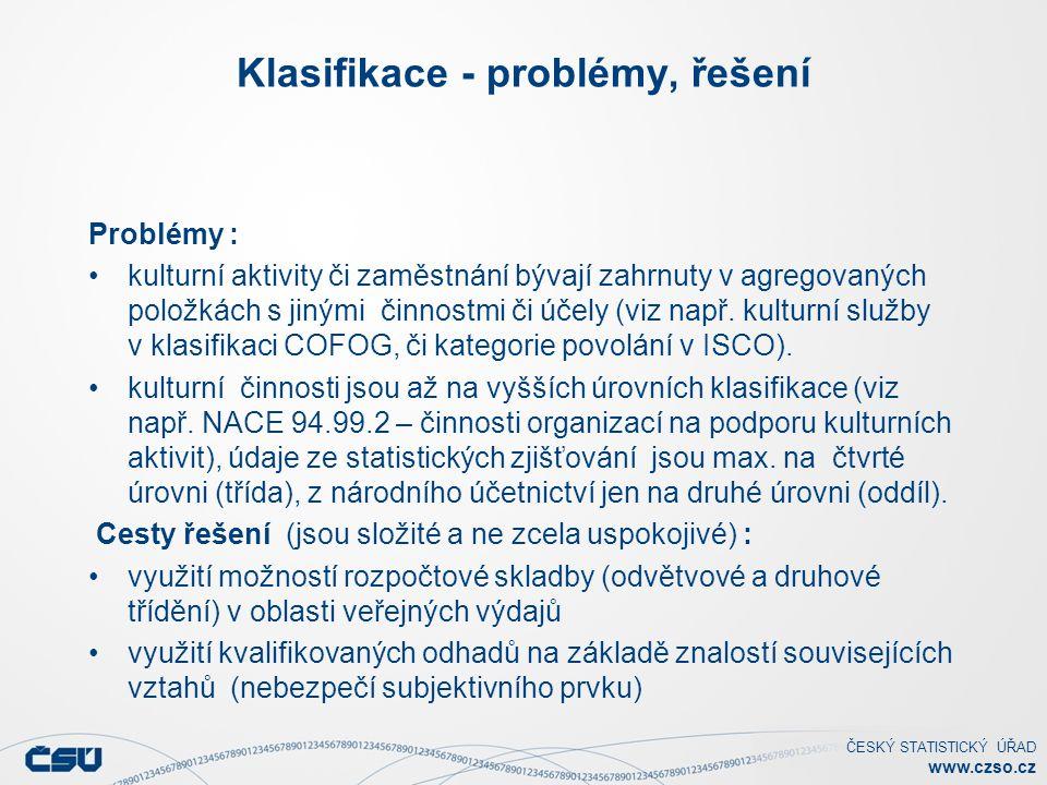 ČESKÝ STATISTICKÝ ÚŘAD www.czso.cz Klasifikace - problémy, řešení Problémy : kulturní aktivity či zaměstnání bývají zahrnuty v agregovaných položkách s jinými činnostmi či účely (viz např.