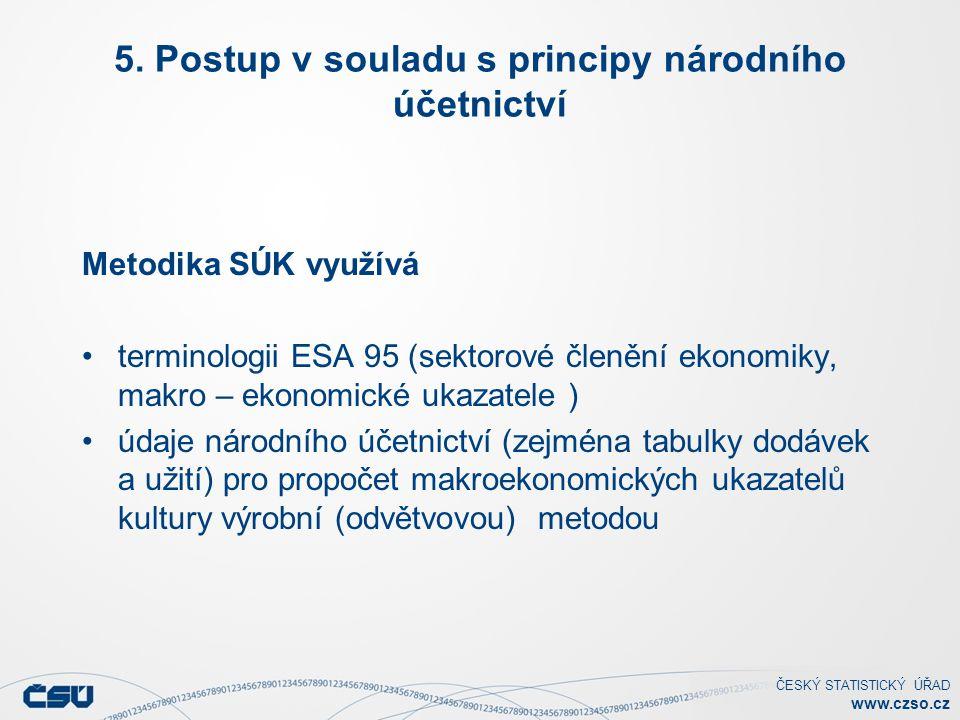ČESKÝ STATISTICKÝ ÚŘAD www.czso.cz 5. Postup v souladu s principy národního účetnictví Metodika SÚK využívá terminologii ESA 95 (sektorové členění eko