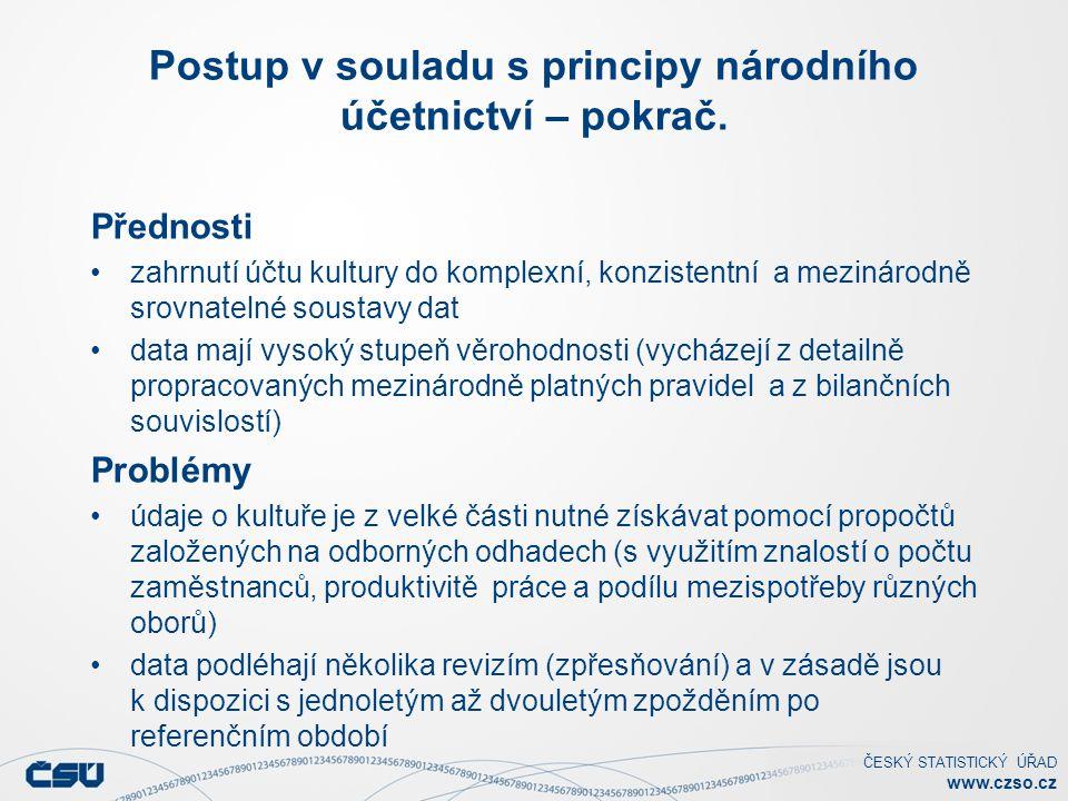 ČESKÝ STATISTICKÝ ÚŘAD www.czso.cz Postup v souladu s principy národního účetnictví – pokrač. Přednosti zahrnutí účtu kultury do komplexní, konzistent