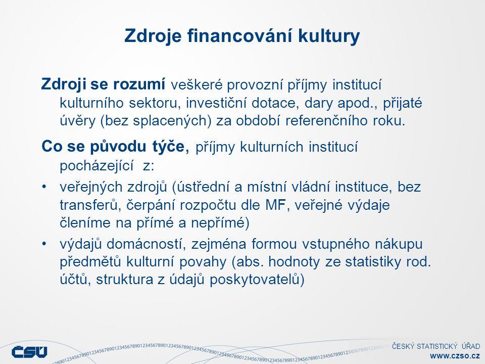 ČESKÝ STATISTICKÝ ÚŘAD www.czso.cz Zdroje financování kultury Zdroji se rozumí veškeré provozní příjmy institucí kulturního sektoru, investiční dotace, dary apod., přijaté úvěry (bez splacených) za období referenčního roku.