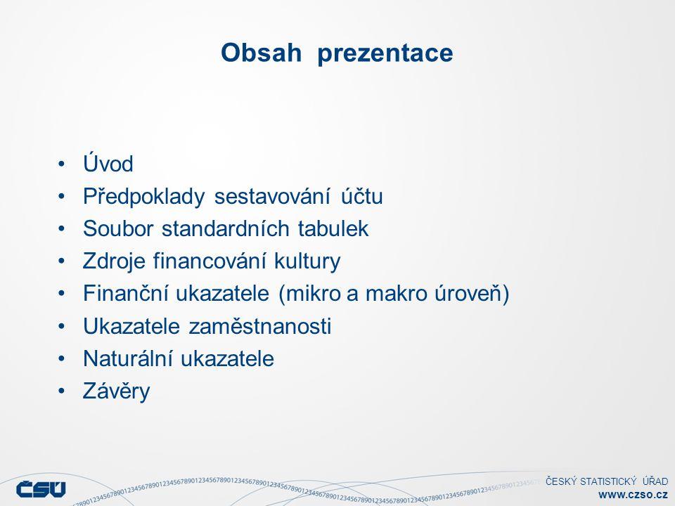 ČESKÝ STATISTICKÝ ÚŘAD www.czso.cz Obsah prezentace Úvod Předpoklady sestavování účtu Soubor standardních tabulek Zdroje financování kultury Finanční