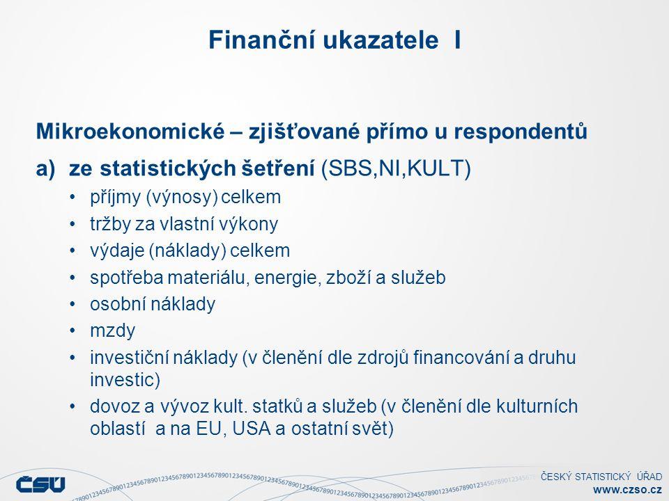 ČESKÝ STATISTICKÝ ÚŘAD www.czso.cz Finanční ukazatele I Mikroekonomické – zjišťované přímo u respondentů a)ze statistických šetření (SBS,NI,KULT) příjmy (výnosy) celkem tržby za vlastní výkony výdaje (náklady) celkem spotřeba materiálu, energie, zboží a služeb osobní náklady mzdy investiční náklady (v členění dle zdrojů financování a druhu investic) dovoz a vývoz kult.
