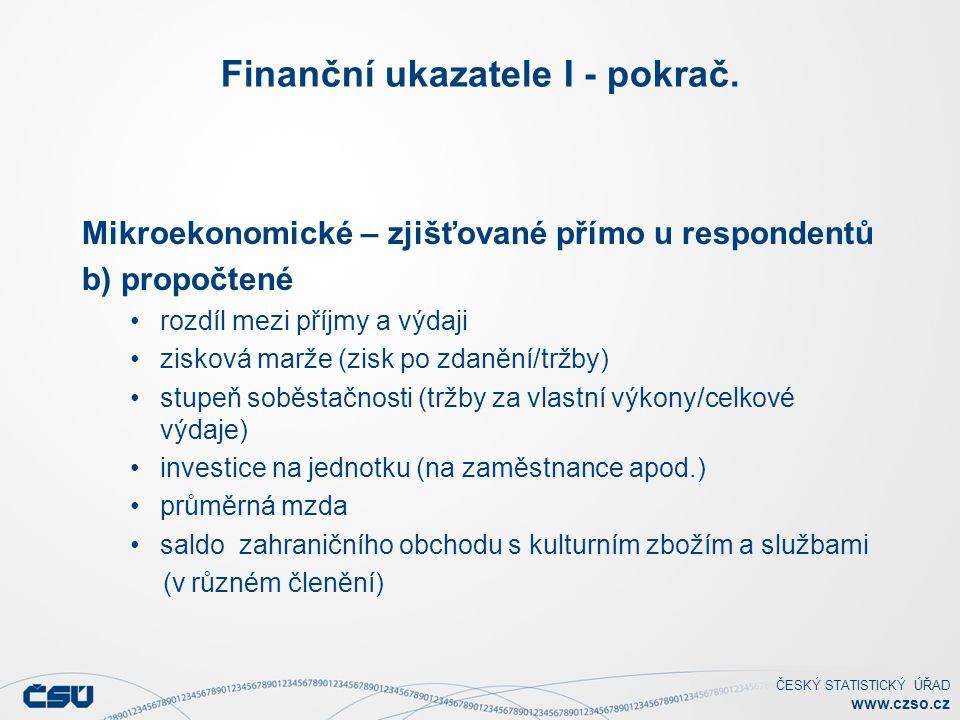 ČESKÝ STATISTICKÝ ÚŘAD www.czso.cz Finanční ukazatele I - pokrač. Mikroekonomické – zjišťované přímo u respondentů b) propočtené rozdíl mezi příjmy a