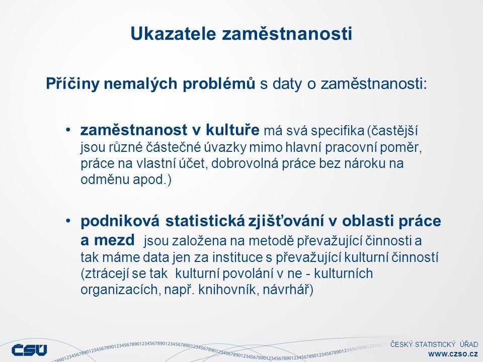ČESKÝ STATISTICKÝ ÚŘAD www.czso.cz Ukazatele zaměstnanosti Příčiny nemalých problémů s daty o zaměstnanosti: zaměstnanost v kultuře má svá specifika (častější jsou různé částečné úvazky mimo hlavní pracovní poměr, práce na vlastní účet, dobrovolná práce bez nároku na odměnu apod.) podniková statistická zjišťování v oblasti práce a mezd jsou založena na metodě převažující činnosti a tak máme data jen za instituce s převažující kulturní činností (ztrácejí se tak kulturní povolání v ne - kulturních organizacích, např.