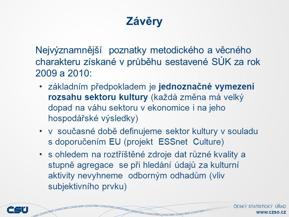 ČESKÝ STATISTICKÝ ÚŘAD www.czso.cz Závěry Nejvýznamnější poznatky metodického a věcného charakteru získané v průběhu sestavené SÚK za rok 2009 a 2010: základním předpokladem je jednoznačné vymezení rozsahu sektoru kultury (každá změna má velký dopad na váhu sektoru v ekonomice i na jeho hospodářské výsledky) v současné době definujeme sektor kultury v souladu s doporučením EU (projekt ESSnet Culture) s ohledem na roztříštěné zdroje dat různé kvality a stupně agregace se při hledání údajů za kulturní aktivity nevyhneme odborným odhadům (vliv subjektivního prvku)