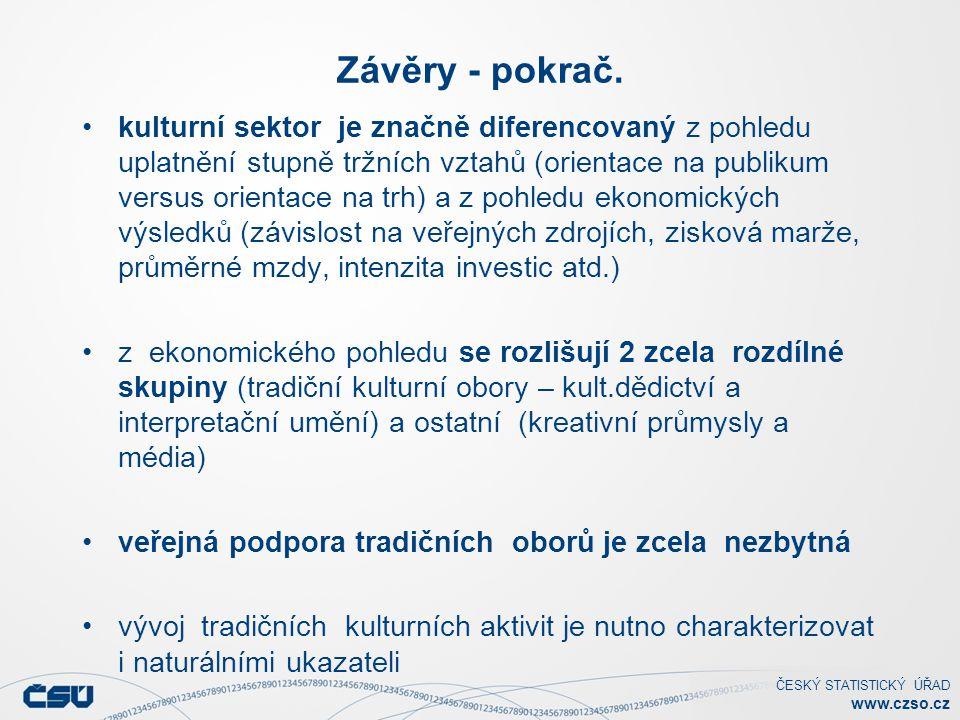 ČESKÝ STATISTICKÝ ÚŘAD www.czso.cz Závěry - pokrač. kulturní sektor je značně diferencovaný z pohledu uplatnění stupně tržních vztahů (orientace na pu