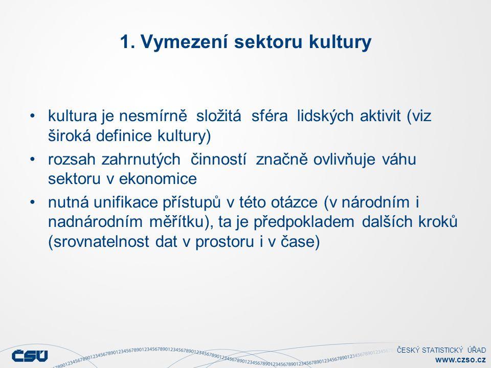 ČESKÝ STATISTICKÝ ÚŘAD www.czso.cz 1. Vymezení sektoru kultury kultura je nesmírně složitá sféra lidských aktivit (viz široká definice kultury) rozsah