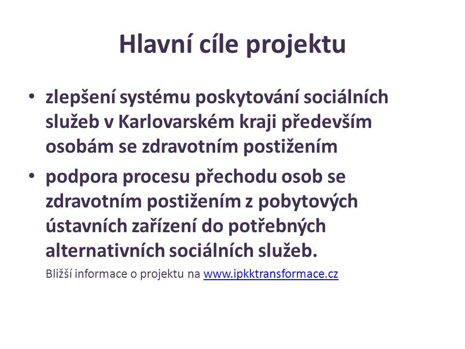 Hlavní cíle projektu zlepšení systému poskytování sociálních služeb v Karlovarském kraji především osobám se zdravotním postižením podpora procesu pře